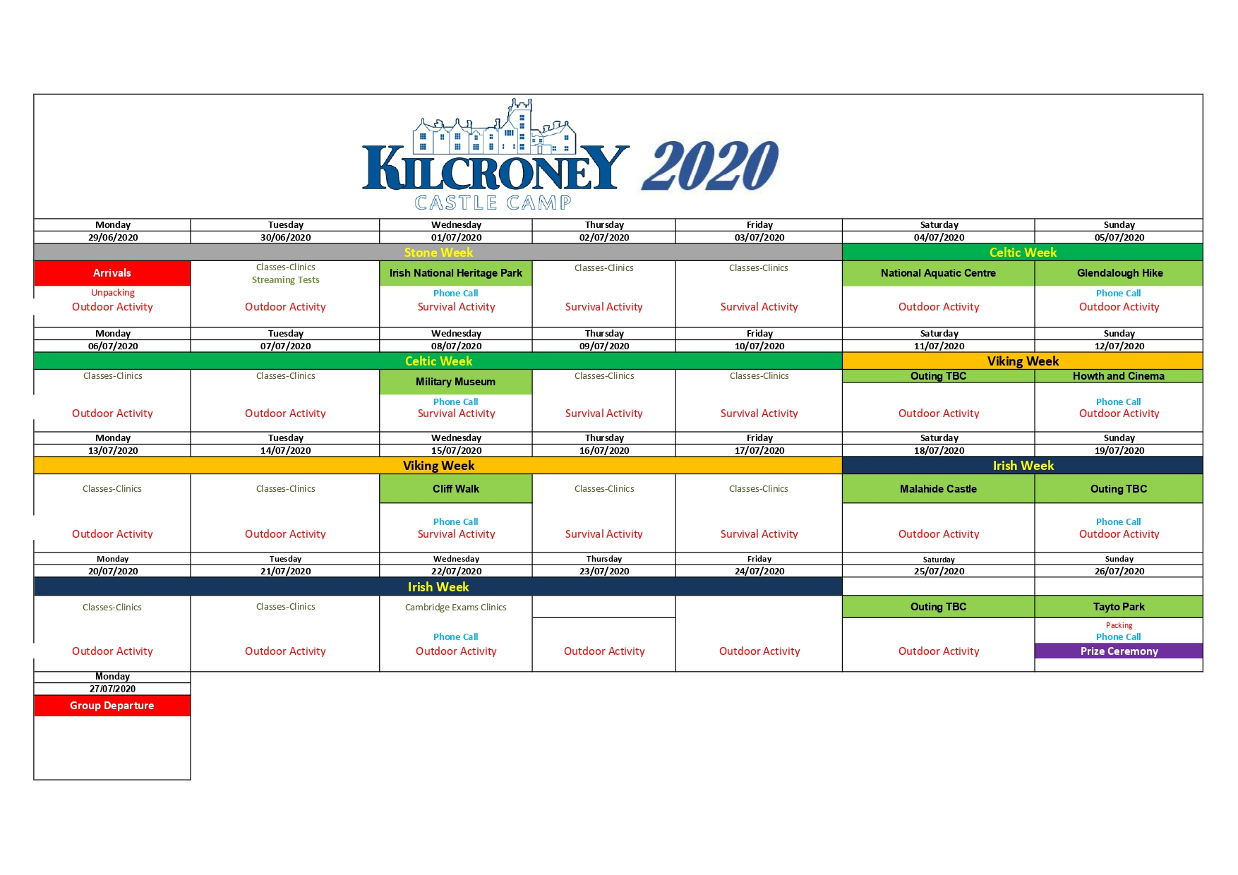 Calendar Kilcroney Castle 2020